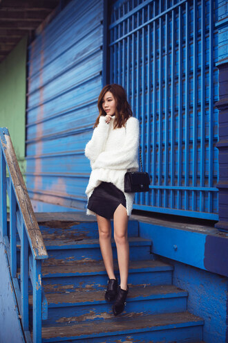 tsangtastic blogger slit skirt fuzzy sweater black skirt ankle boots jacket sweater skirt shoes bag
