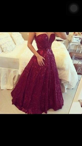 dress burgundy strapless ballgown