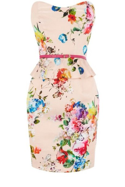 dress spring dress floral dress peplum flowers peach dress strapless dress