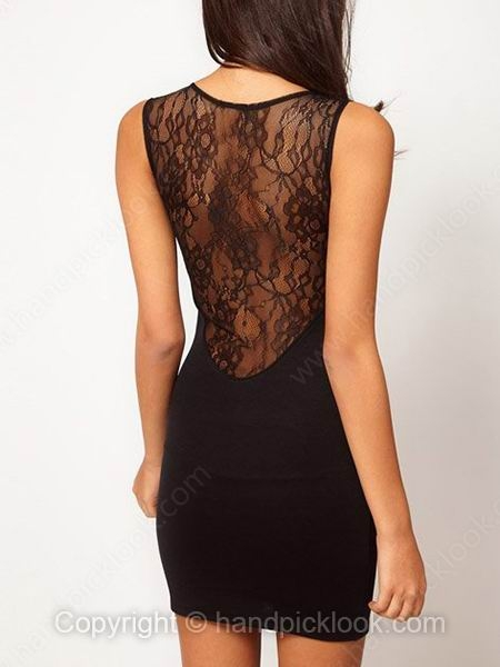 Black Round Neck Sleeveless Sexy Lace Embellished Dress - HandpickLook.com