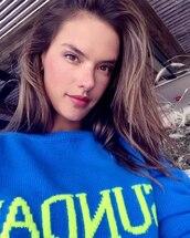 sweater,model,jumper,alessandra ambrosio,instagram,blue sweater,celebrity style,alberta ferretti,blue jumper