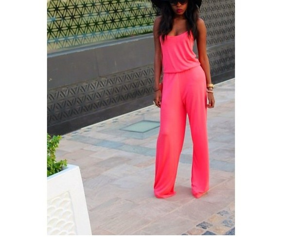 neon blouse romper hot pants hot pink jumpsuit