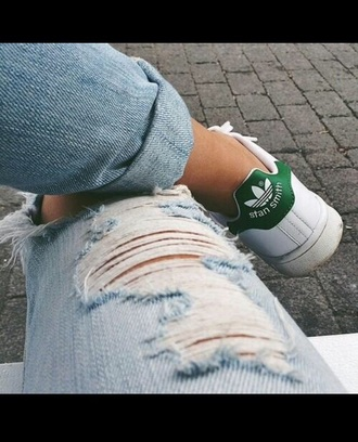 shoes jeans sneakers adidas shoes adidas stan smith torn clothes denim