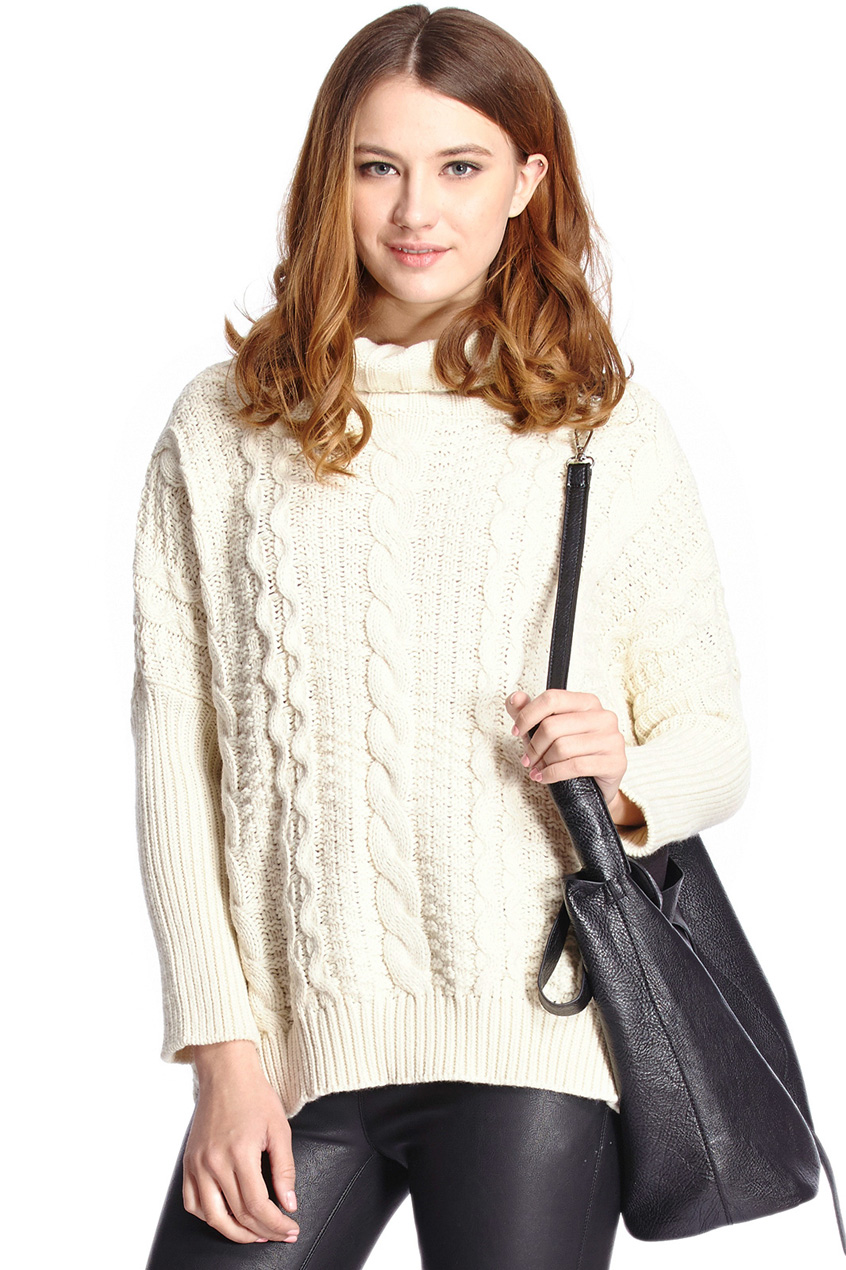 ROMWE | Chunky Cable Knit Turtleneck White Jumper, The Latest Street Fashion
