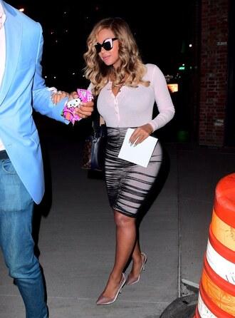 skirt top bodysuit beyonce sunglasses pumps