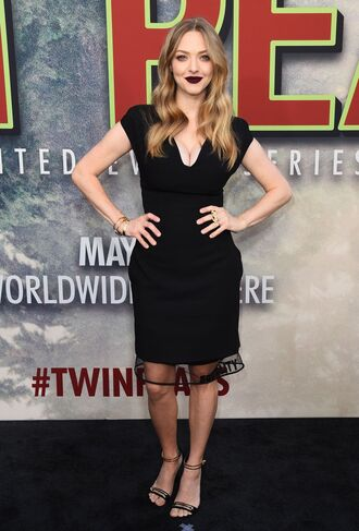 dress midi dress amanda seyfried black dress black sandals sandal heels