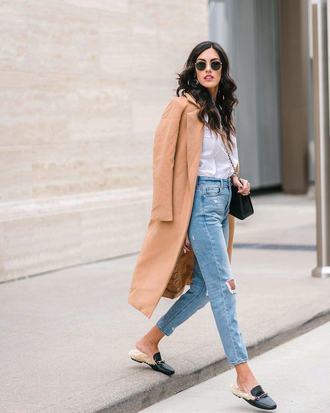 coat tumblr camel camel coat denim jeans blue jeans ripped jeans cropped jeans shoes mules sunglasses shirt white shirt