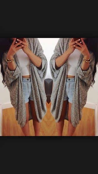 cardigan grey grey cardigan long cardigan cute elegant warm sweater