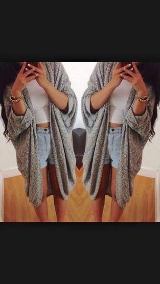 grey sweater cardigan grey cardigan long cardigan cute elegant warm