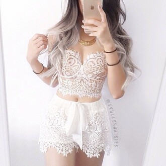 shorts lookbook store lace dress lace top lace romper all white everything crop tops crop cropped mini skirt white lace white lace top white lace skirt white lace shorts high waisted shorts high waisted white white top high wasted shorts white high tops iphone tie dye tie dye hair