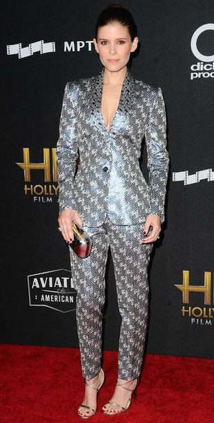 pants metallic silver suit sandals kate mara