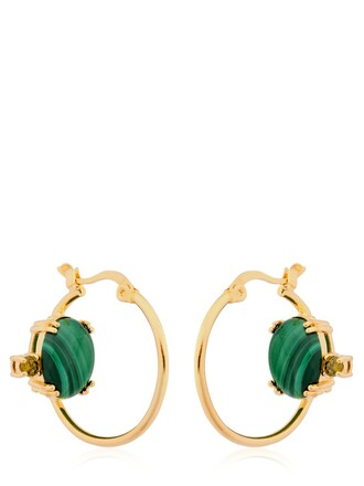 earrings stud earrings gold green jewels