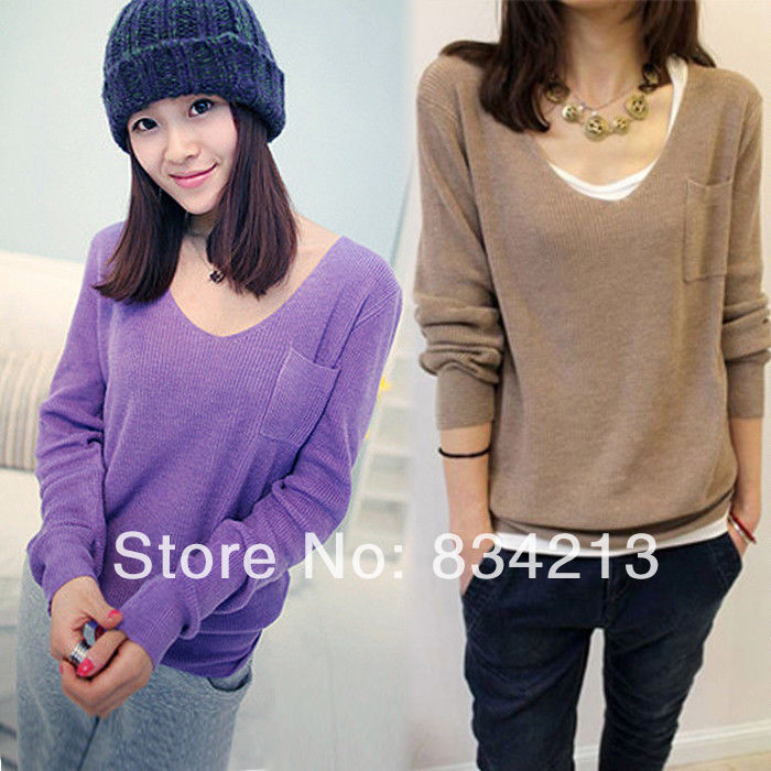 Aliexpress.com : Buy 2014 New Womens Knitted V Neck Pockets Lady Casual Loose Pullover Girl Sping Sweater Clothes from Reliable sweater suppliers on Shenzhen Gache Trading Limited