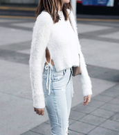 sweater,white sweater,tumblr,side split,knit,knitted sweater,cropped sweater,denim,jeans,light blue jeans