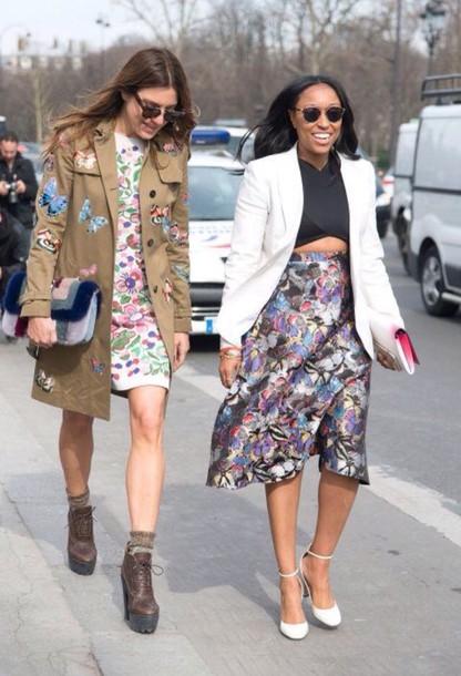 dress floral fashion week paris fashion week floral dress mini dress fashion week 2015