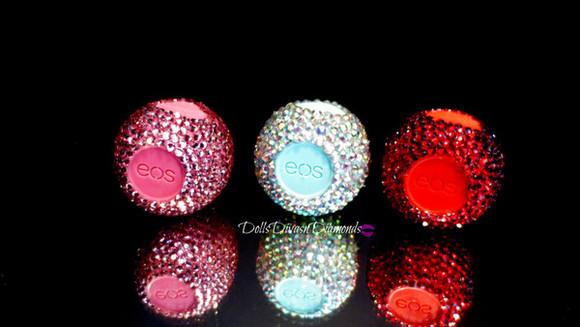 colorful make-up lip balm eos crystal quartz sparkly