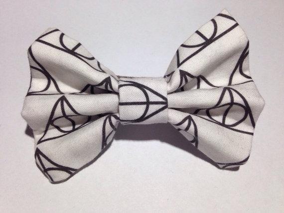 Deathly hallows print hair bow