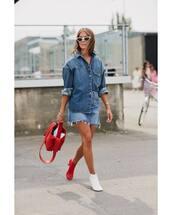 top,denim shirt,boots,handbag,mini skirt,denim skirt,white sunglasses