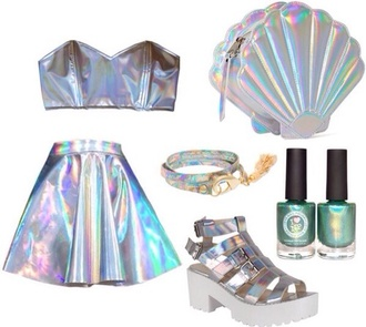 hologram skirt shoes holographic shopping style funny shirt bag shirt tank top