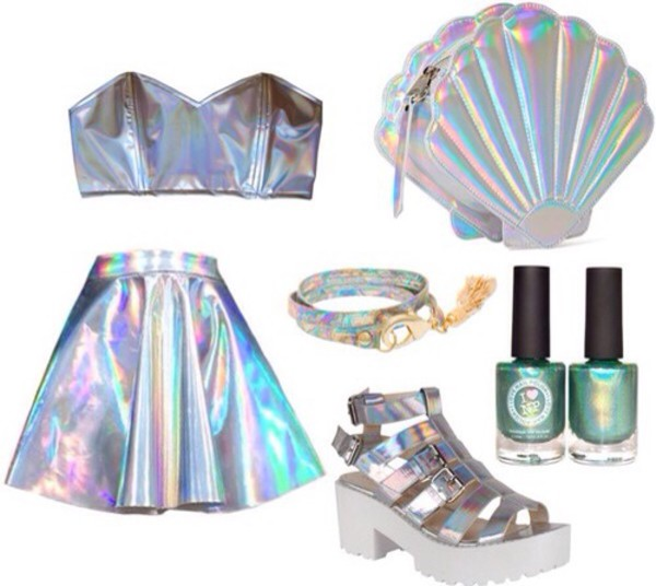holographic skirt shoes holographic shopping style funny shirt bag shirt tank top