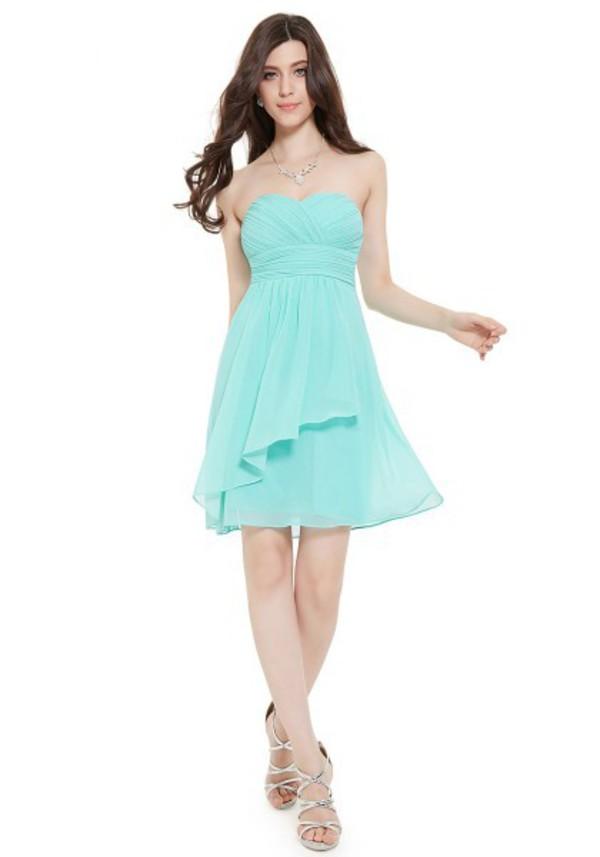 Sweetheart short mini light blue chiffon a line bridesmaid for Short light blue wedding dress