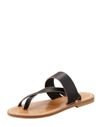 K. Jacques Nehru Crisscross Toe Ring Flat Sandal, Black
