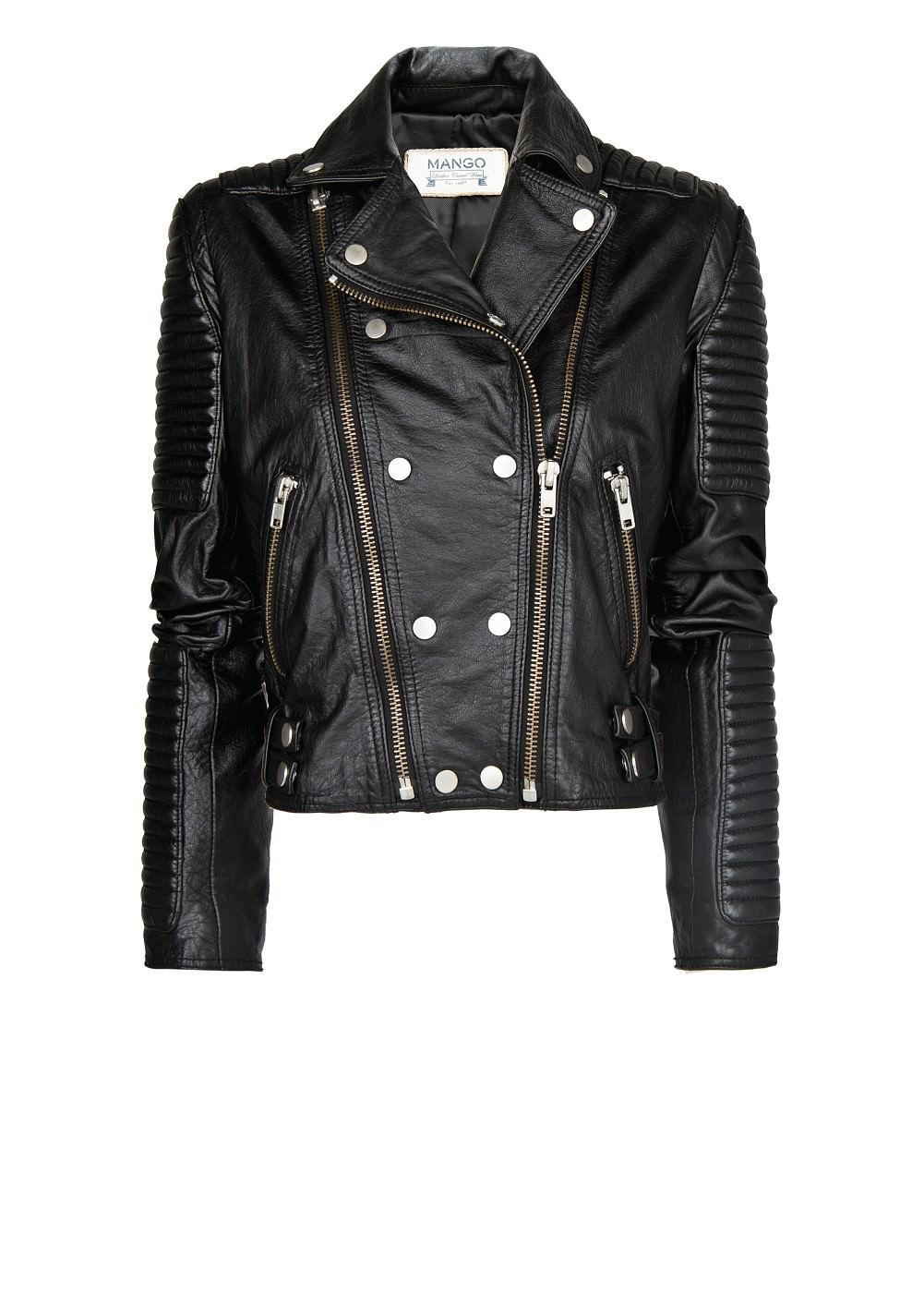 Leather biker jacket - Jackets for Women | MANGO