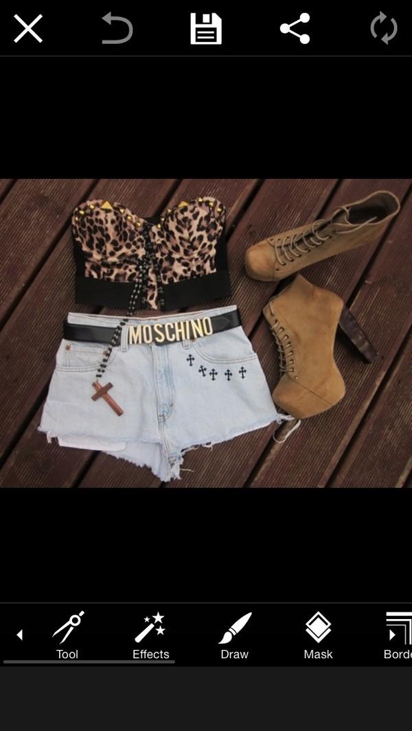 shirt leopard print crop tops shorts belt shoes