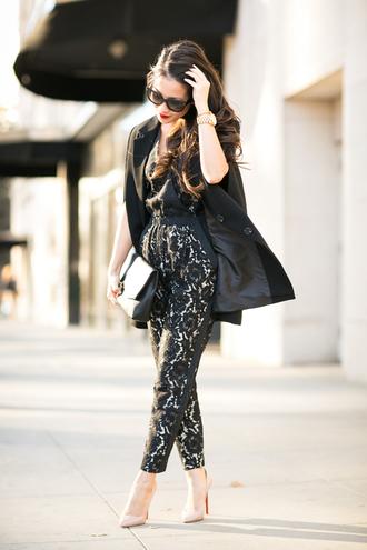 wendy's lookbook blogger jacket jumpsuit bag sunglasses tailoring cape