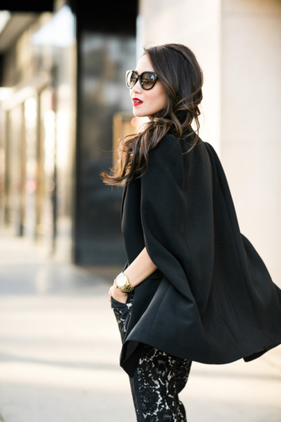 599b201e595 wendy s lookbook blogger jacket jumpsuit bag sunglasses tailoring cape