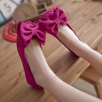 shoes flat shoes cute girly kawaii pink bow fashion style footwear japanese fashion gyaru feminine