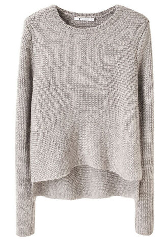 grey sweater wool asymmetrical sweater pullover creme beige knit