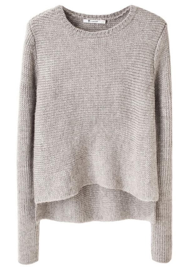 grey sweater wool asymmetrical sweater pullover creme beige knit