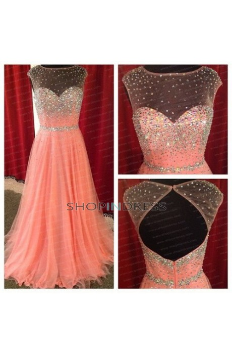 Line sweetheart floor length chiffon watermelon prom dress with beaded npd098007 sale at shopindress.com
