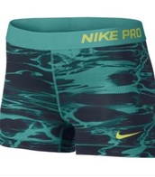 shorts,marble,green,nike,nike pro,spandex,women,gold waistband,blue