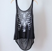 top,skeleton,shirt,white,black,tank top,sheer,black top,skeletonclique,bones,black tank top