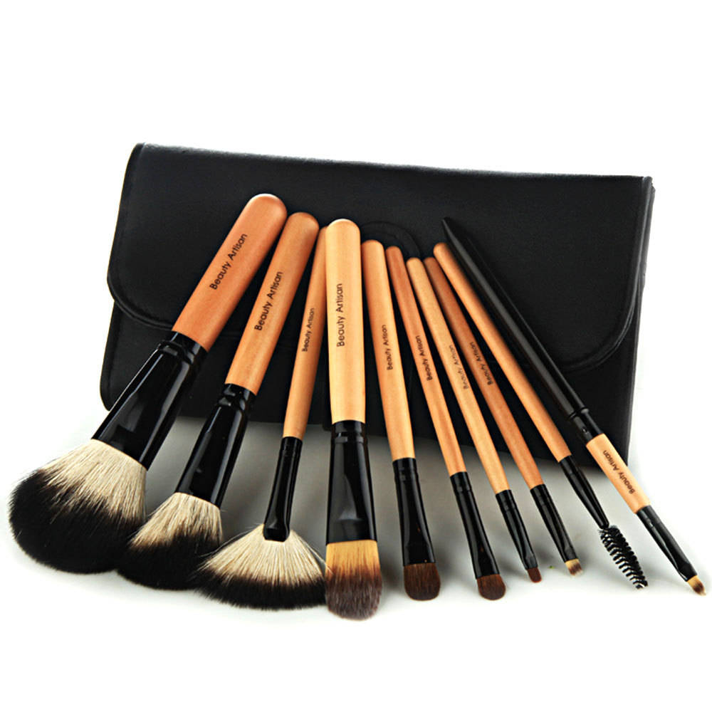 [grxjy5140029] 10 PCS Makeup Cosmetic Brush Tool Set with Black Pouch