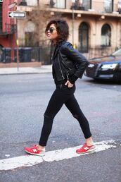 shoes,tumblr,sneakers,new balance,denim,jeans,black jeans,jacket,black jacket,sunglasses,red sneakers