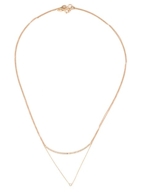 women layered necklace diamond necklace gold grey metallic jewels