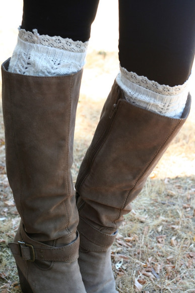 leg warmers brown leather boots knitwear crochet