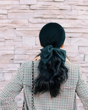 hair accessory,tumblr,brunette,hair bow,coat,printed coat,hairstyles,ponytail