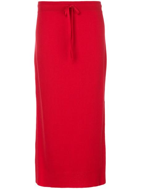 skirt long skirt casual long women red