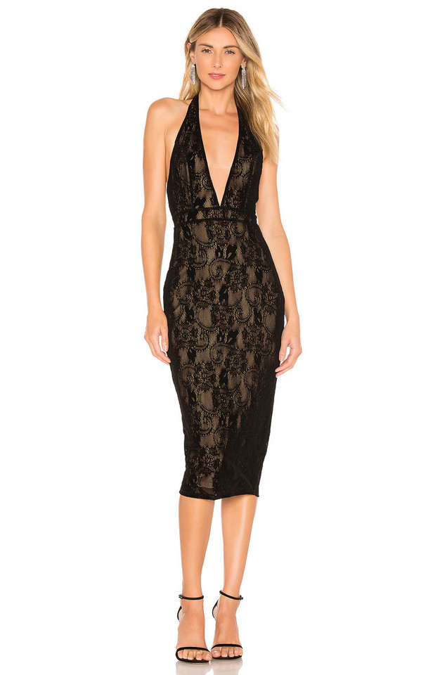 Michael Costello x REVOLVE Kiana Dress in black