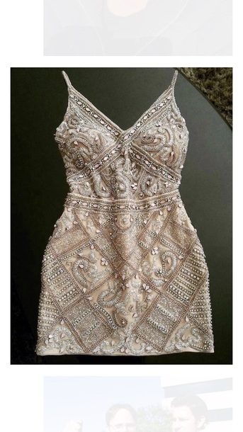 dress gold embroidered spaghetti strap vsco cute pretty short midi dress champagne beaded sequin dress sparkly dress silver clothes blogger style beaded dress