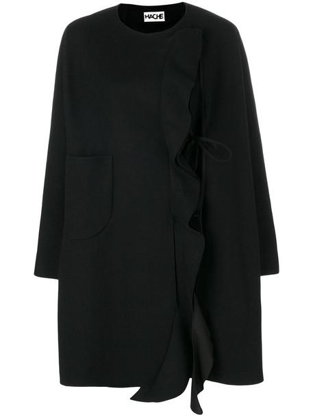 HACHE coat ruffle women spandex cotton black wool