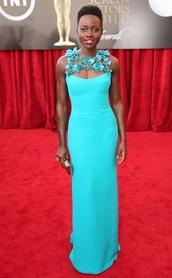 dress,lupita nyong'o,long prom dress,blue dress,fashionista,elegant dress
