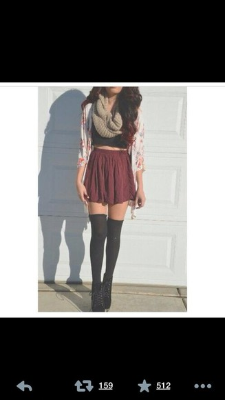 underwear sweater shoes blouse skirt scarf