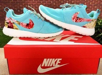 shoes nike roshe run floral nike turquoise