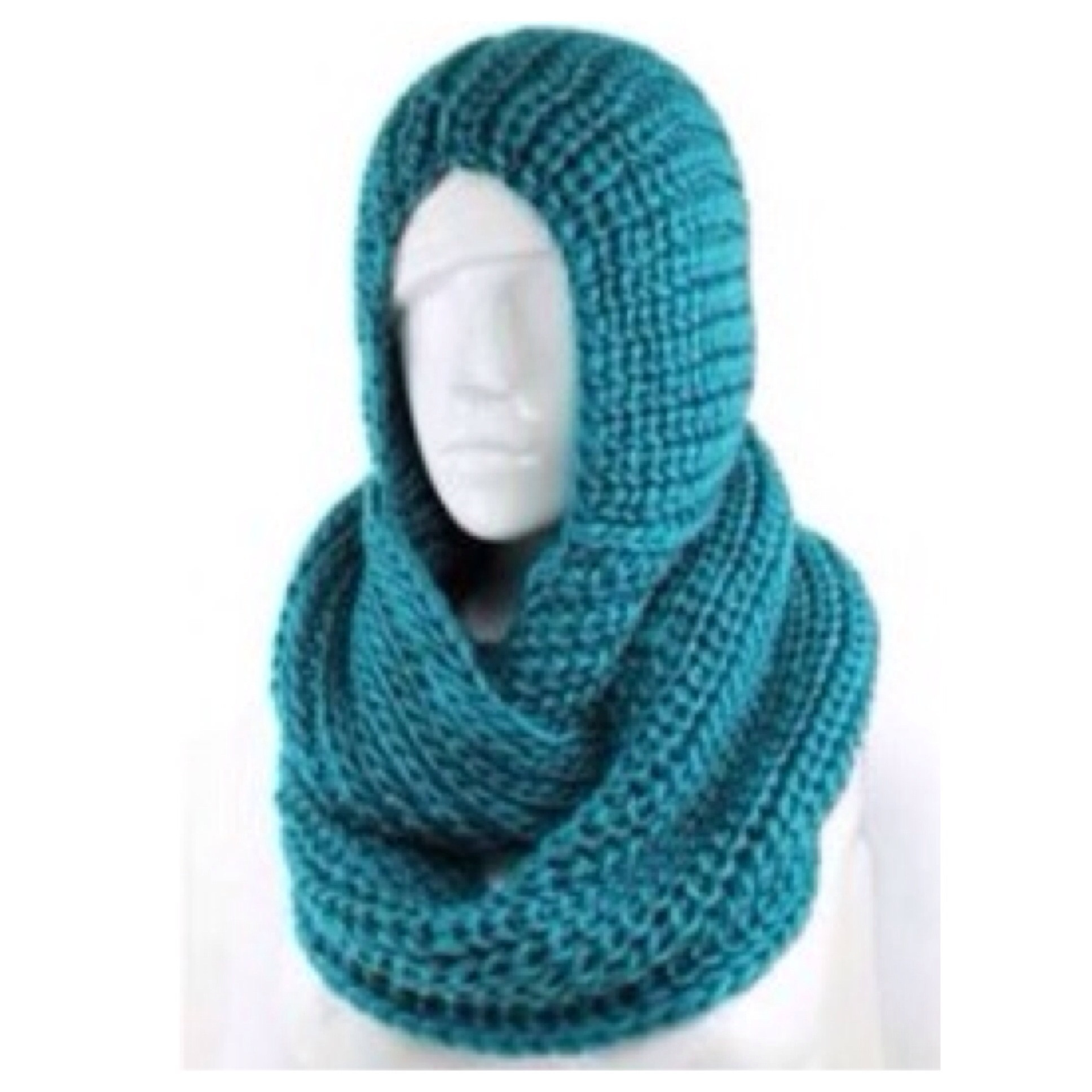 Soft and Cozy Crochet Hooded Teal Infinity Scarf