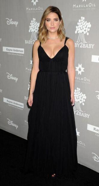 dress gown black dress maxi dress ashley benson plunge v neck prom dress
